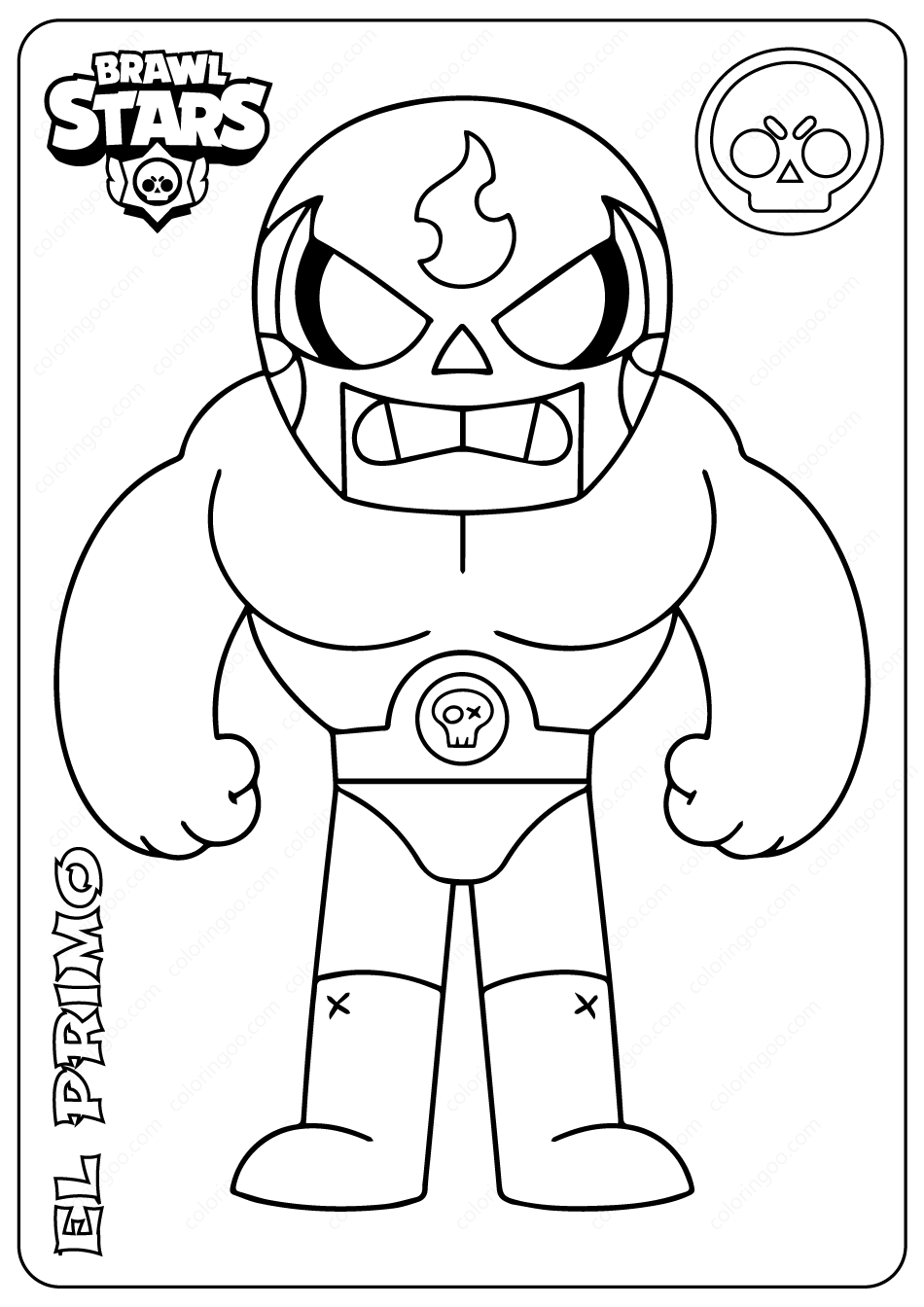 Printable Brawl Stars (El Primo) PDF Coloring Pages