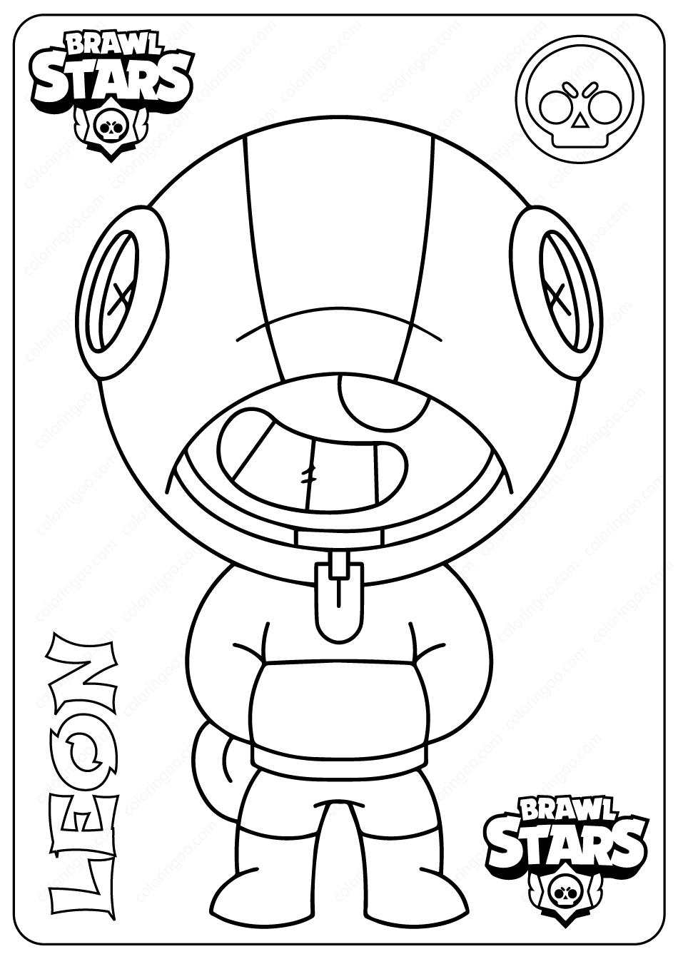 Printable Brawl Stars (Leon) PDF Coloring Pages