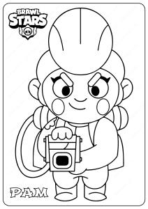 Printable Brawl Stars (Pam) PDF Coloring Pages