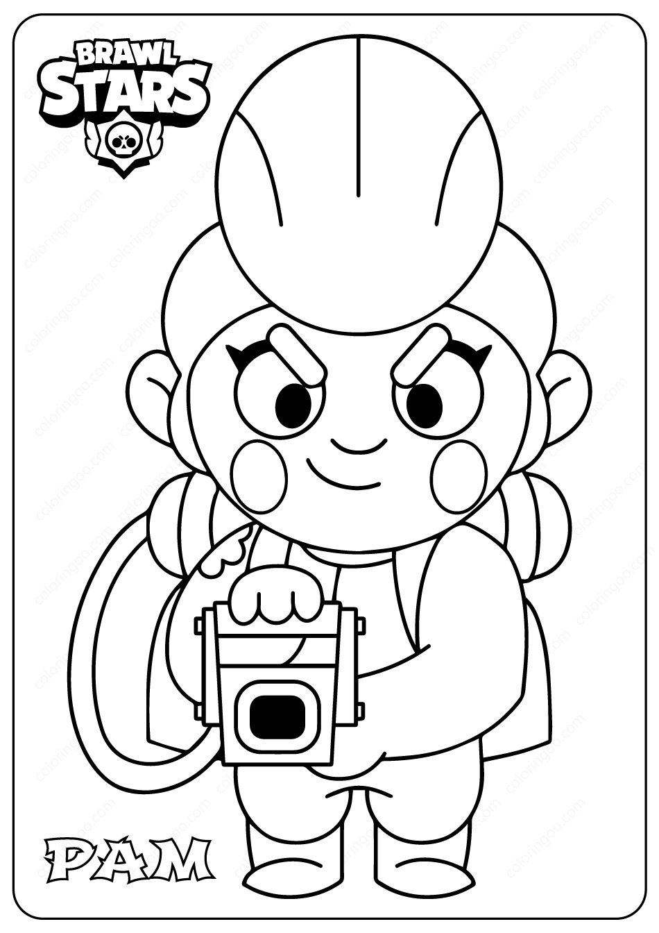 Printable Brawl Stars (Pam) PDF Coloring Pages