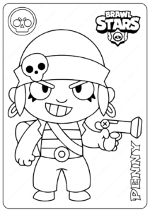 Printable Brawl Stars (Penny) PDF Coloring Pages