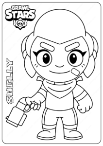 Printable Brawl Stars (Shelly) PDF Coloring Pages