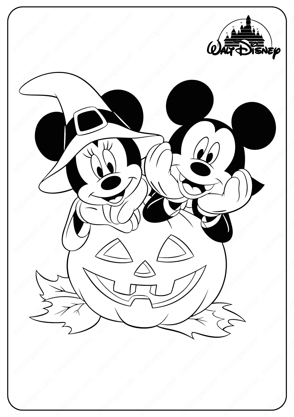 Disney Minnie & Mickey Halloween Coloring Pages