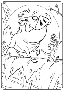 Simba, Timon And Pumbaa The Lion King Coloring Page | Disney ... | 300x212