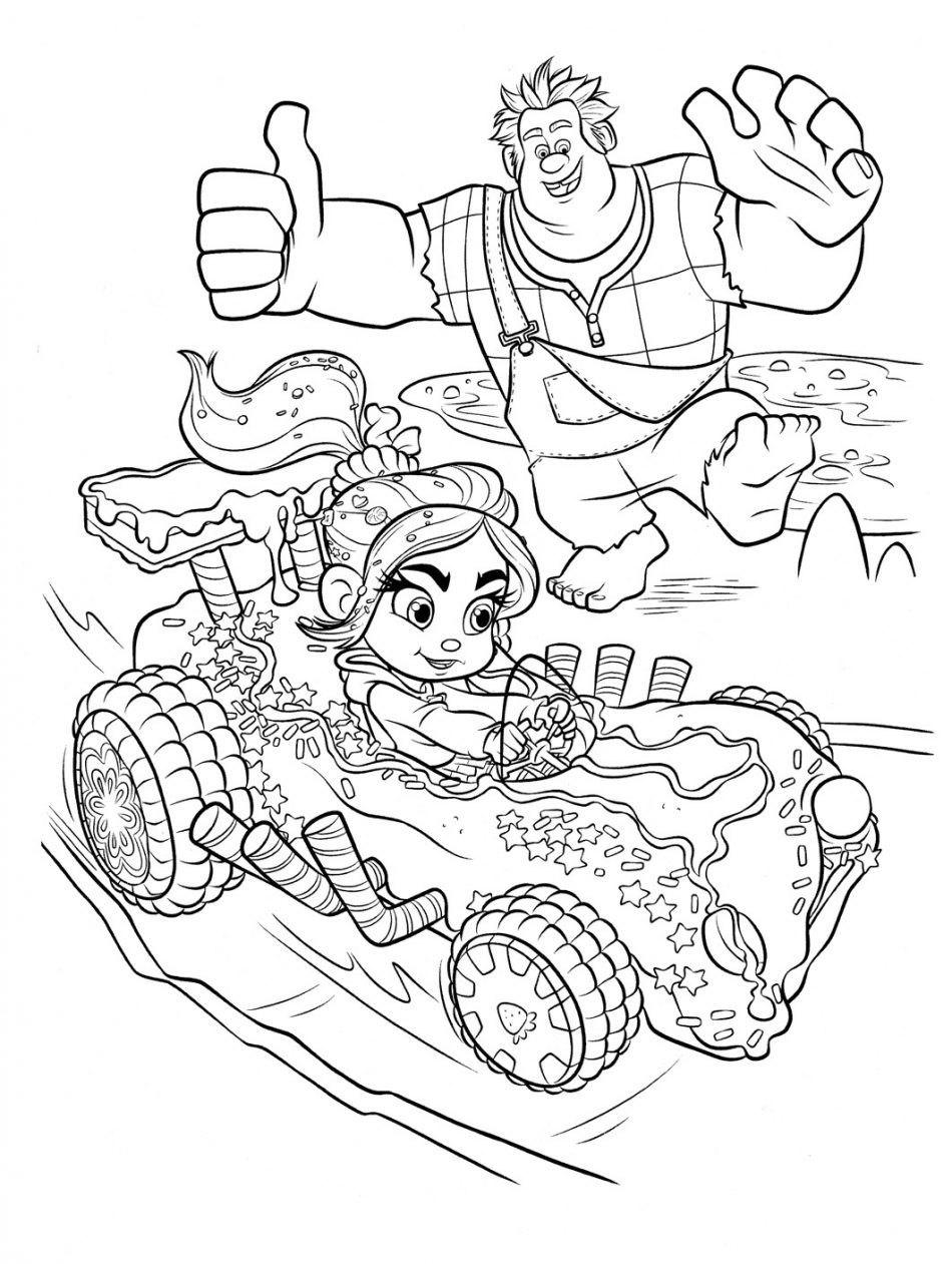 Disney Wreck It Ralph Vanellope Racing Coloring Page
