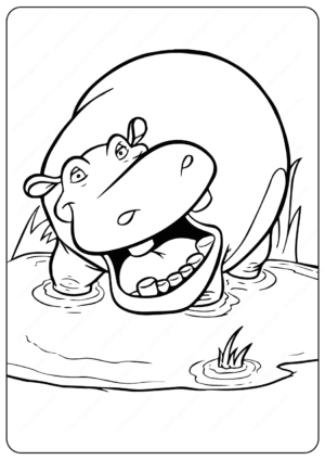 Free Printable Hippo PDF Coloring Pages