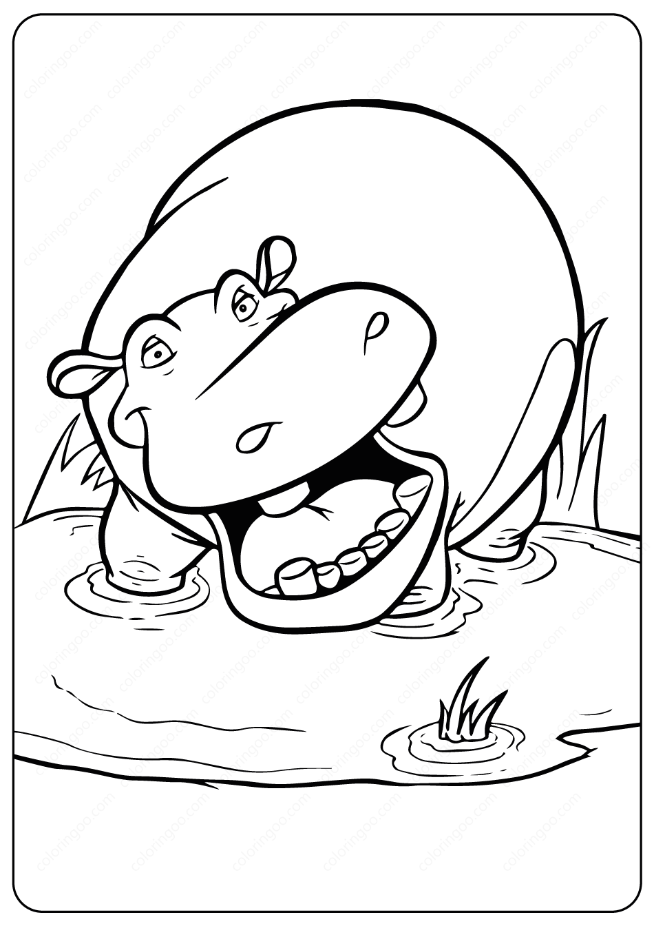 10 Cute Free Printable Hippo Coloring Pages For Toddlers | 1344x950