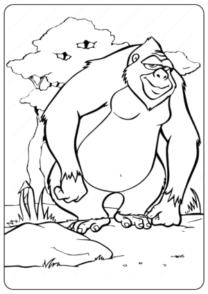 Printable Animals Gorilla Coloring Pages