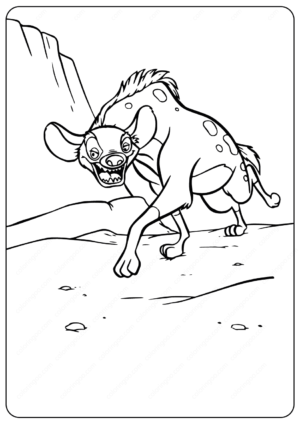 Printable Animals Hyena PDF Coloring Pages