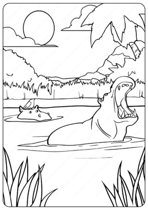 Printable Animals Swimming Hippo Coloring Pages