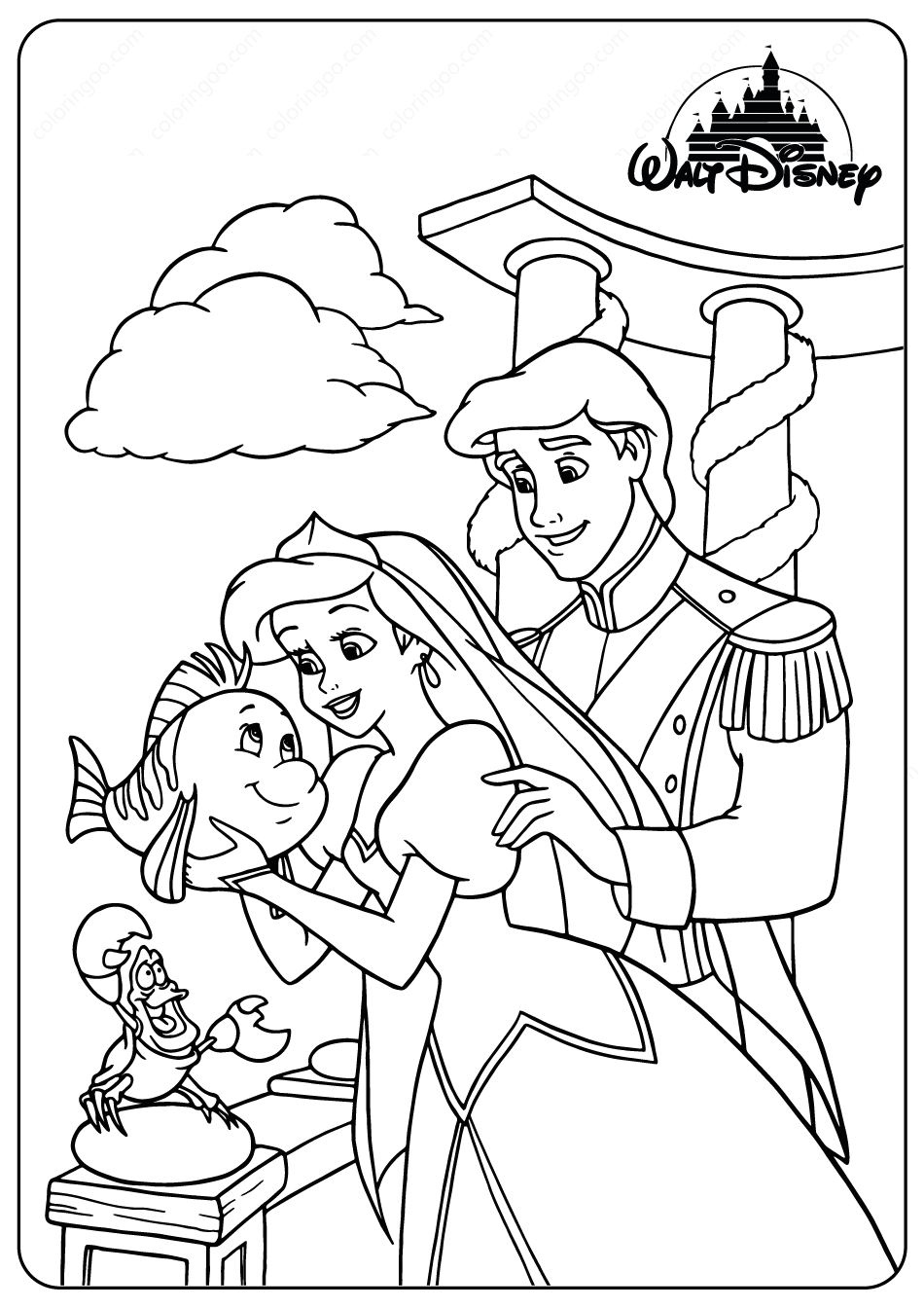Printable Ariel and Prince Eric Coloring Pages