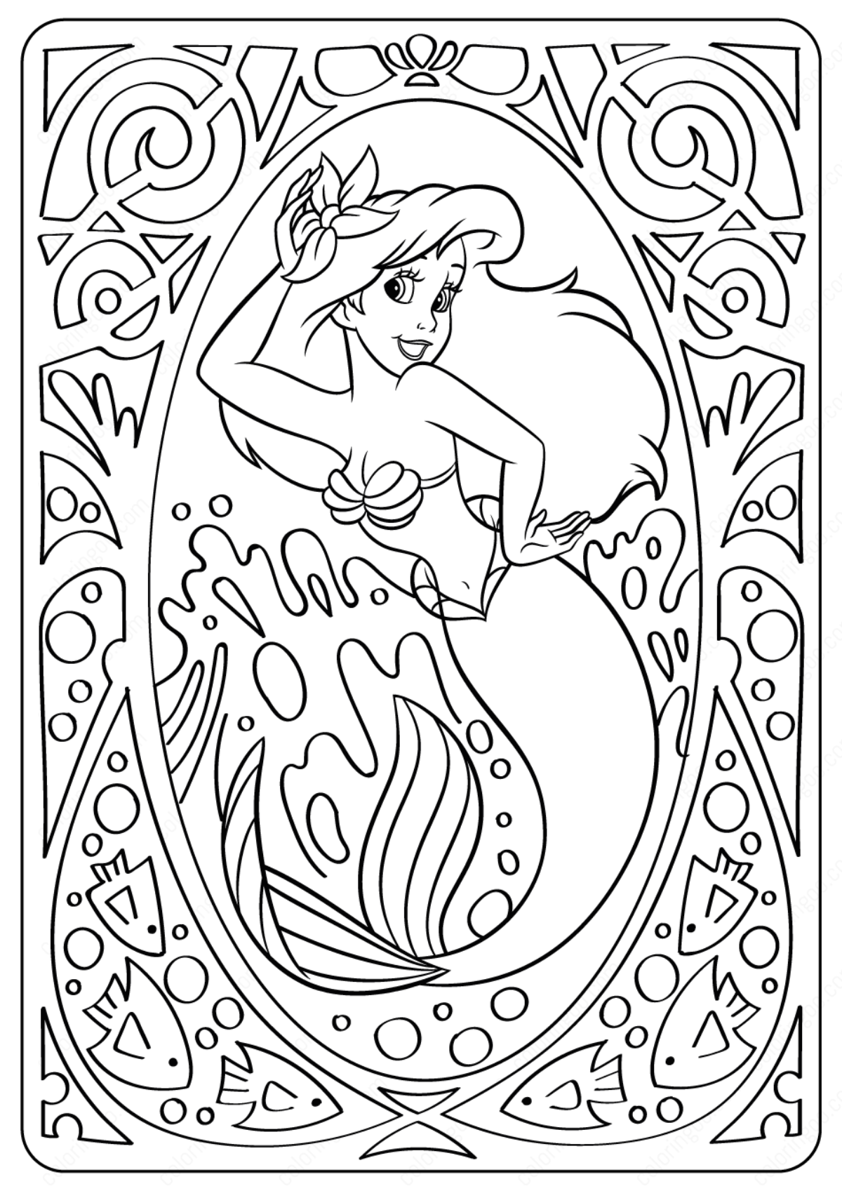 Printable Disney Lovely Ariel Coloring Pages