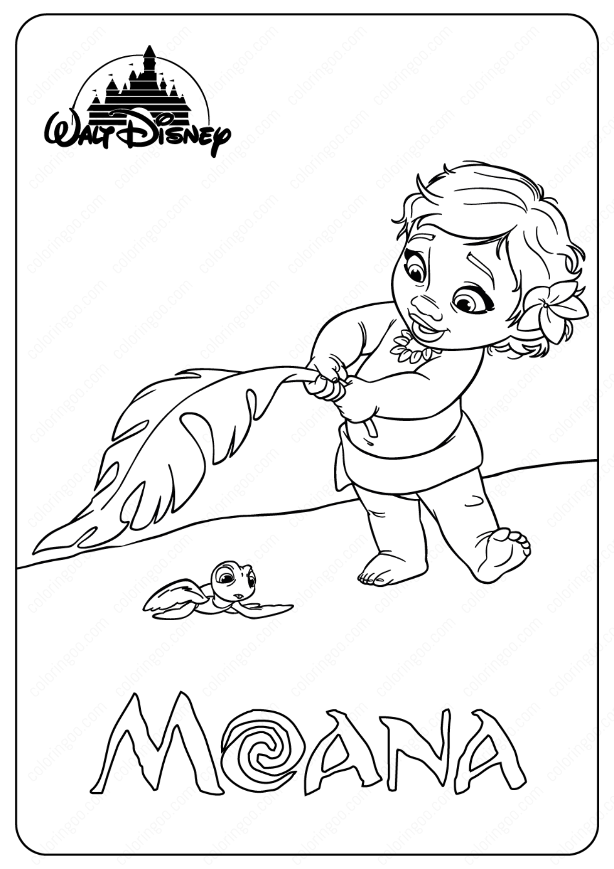 Printable Disney Baby Moana Coloring Pages