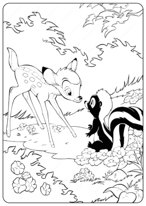Printable Disney Bambi and Flower Coloring Pages