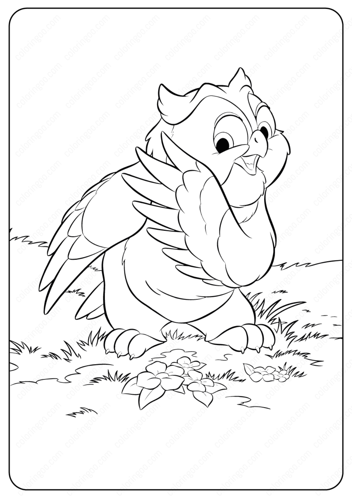 Printable Disney Bambi Friend Owl Coloring Pages