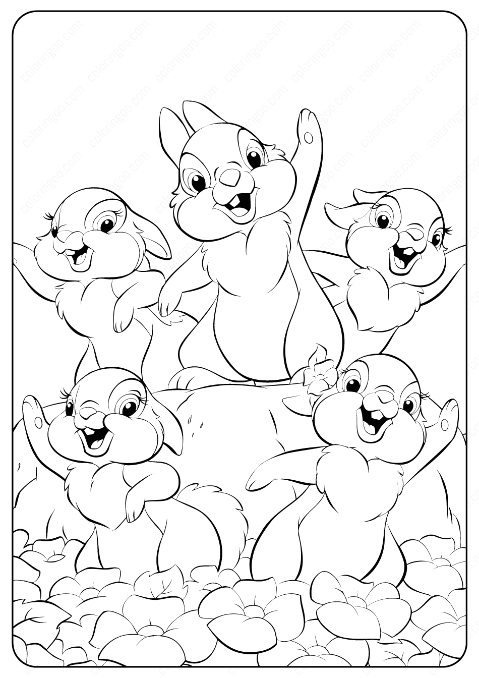 Printable Disney Bambi Thumper Coloring Pages