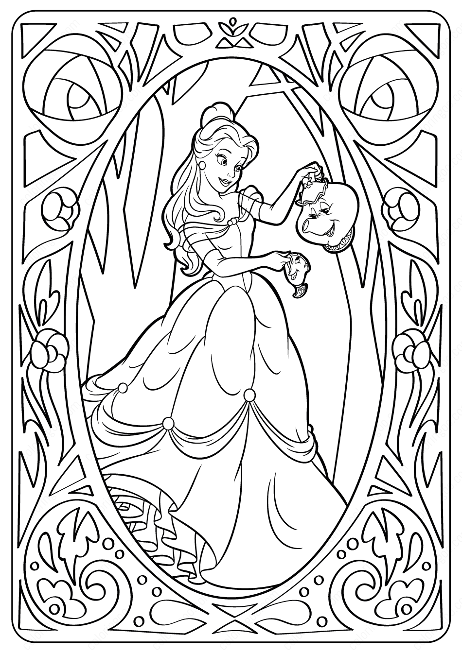 - Printable Disney Belle PDF Coloring Pages