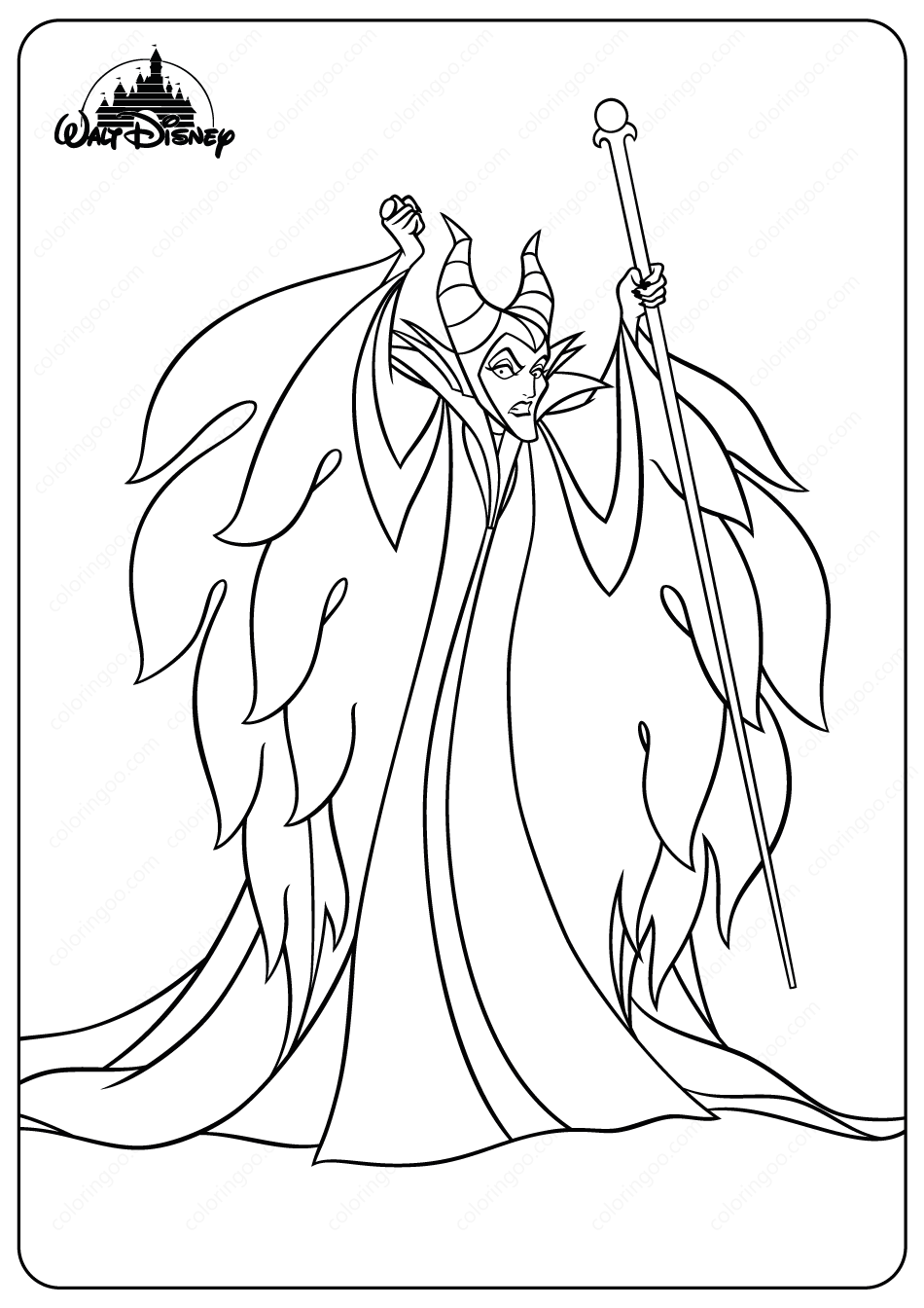 Printable Disney Evil Fairy Maleficent Coloring Pages