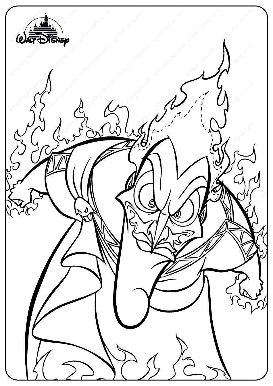 Printable Disney Evil Hades Coloring Pages