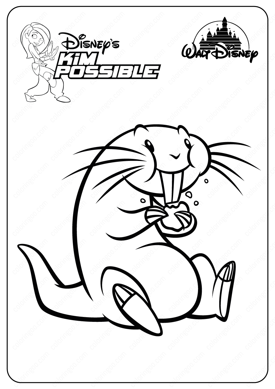 Printable Disney Kim Possible Rufus Coloring Pages