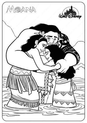 Printable Disney Moana and Her Family Coloring Page