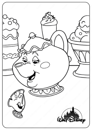 Printable Disney Mrs Potts and Chip Coloring Pages