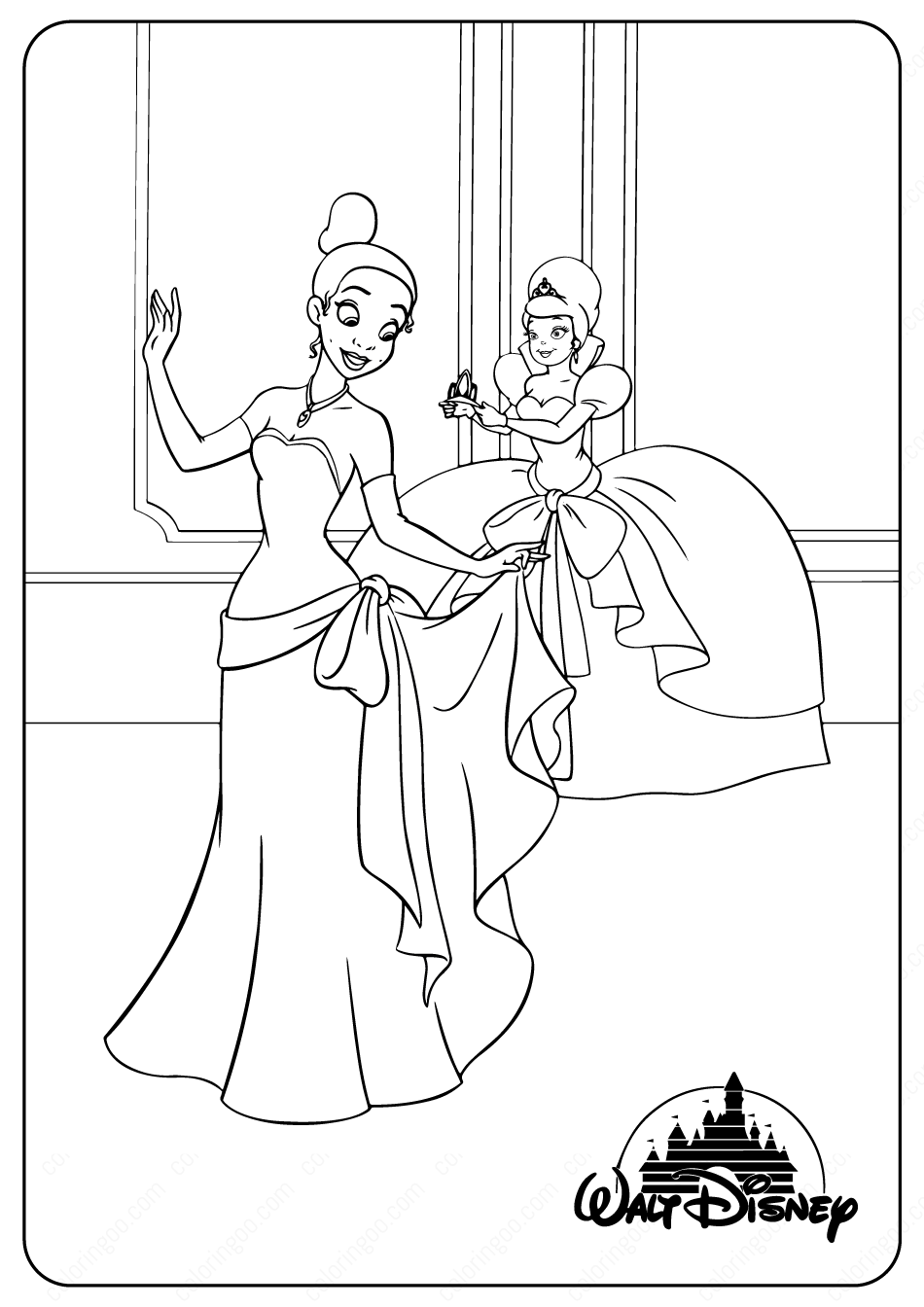 Printable Disney Tiana and Charlotte Coloring Pages