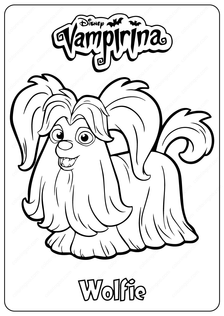 Printable Disney Vampirina Wolfie Coloring Pages