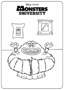 Printable Cute Monsters University Art Coloring Pages