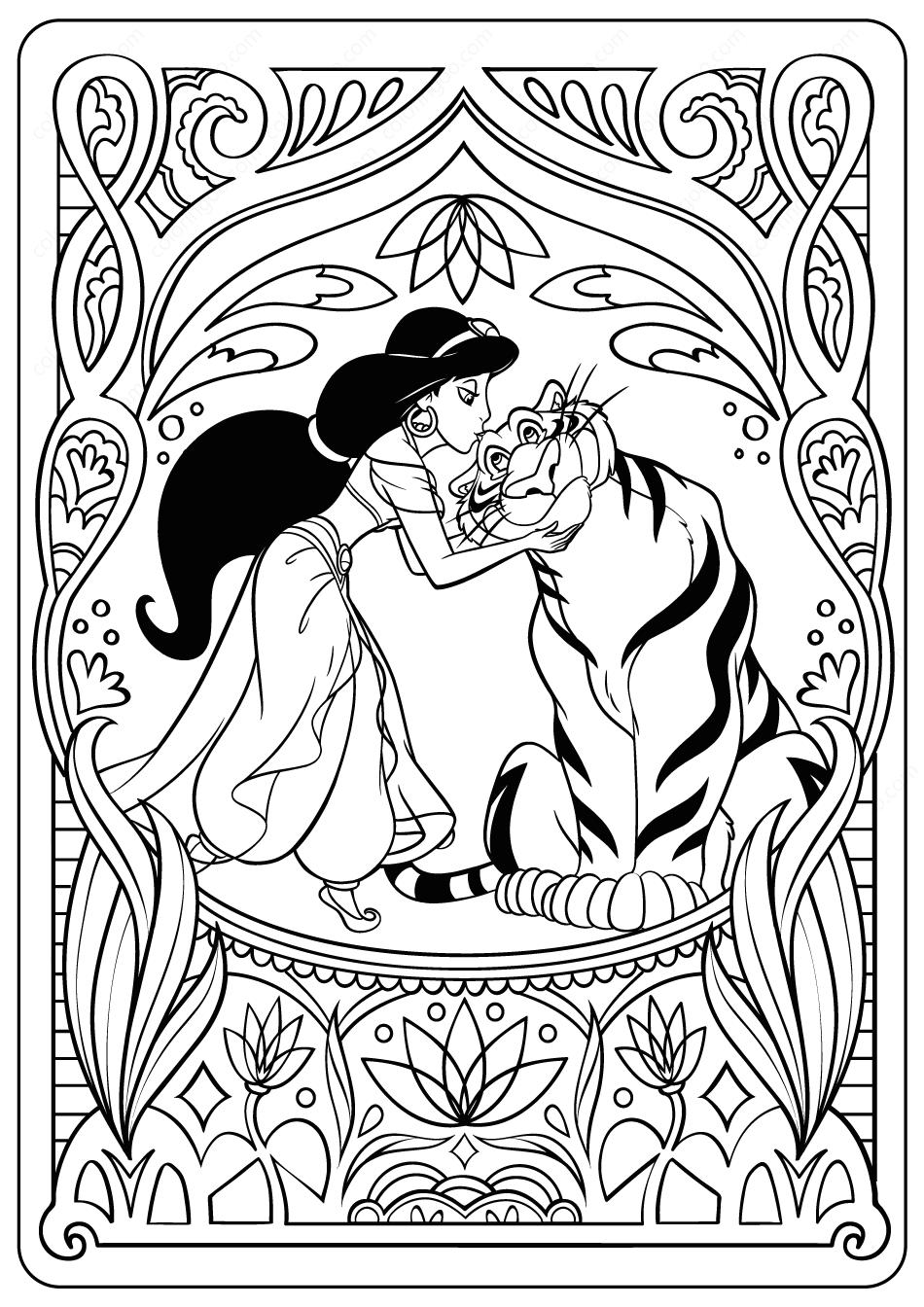 Printable Princess Jasmine PDF Coloring Pages