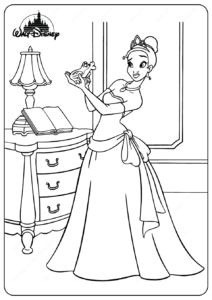 Printable Tiana and the Frog Coloring Pages
