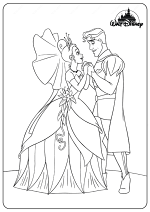 Printable Disney Tiana and The Prince Coloring Pages