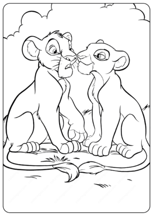 The Lion King Young Simba and Nala Coloring Pages