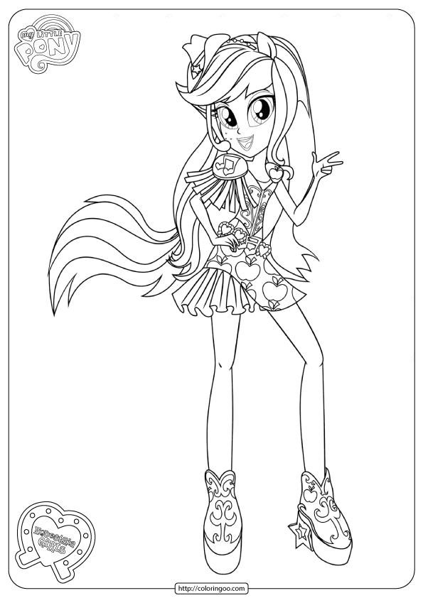 MLP Equestria Girls Applejack Coloring Pages 1