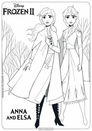 Disney Frozen Anna and Elsa Coloring Pages