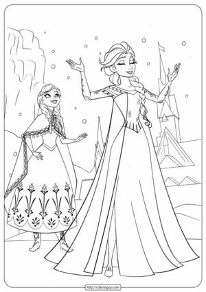 Disney Frozen Anna & Elsa Coloring Pages