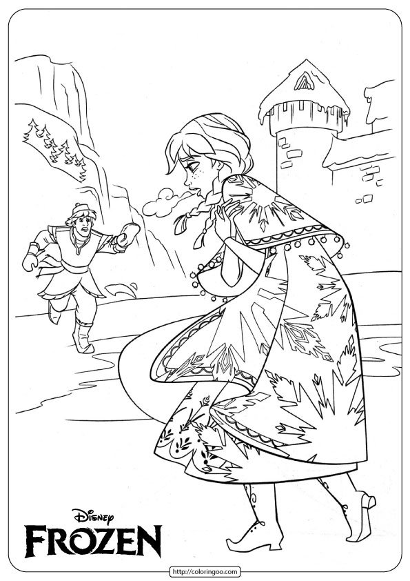 Frozen Anna and Kristoff Coloring Page