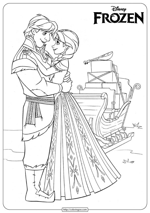 Frozen Anna and Kristoff Coloring Pages