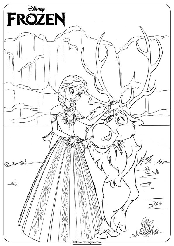 Disney Frozen Anna and Sven Coloring Pages