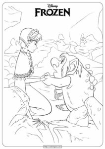 Frozen Anna and Troll Coloring Pages