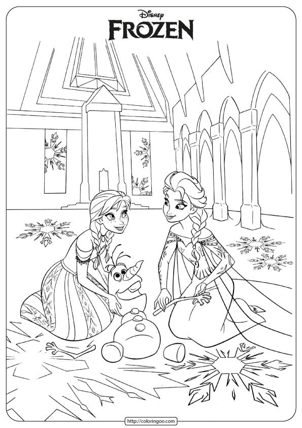 Frozen Anna - Elsa - Olaf Coloring Pages