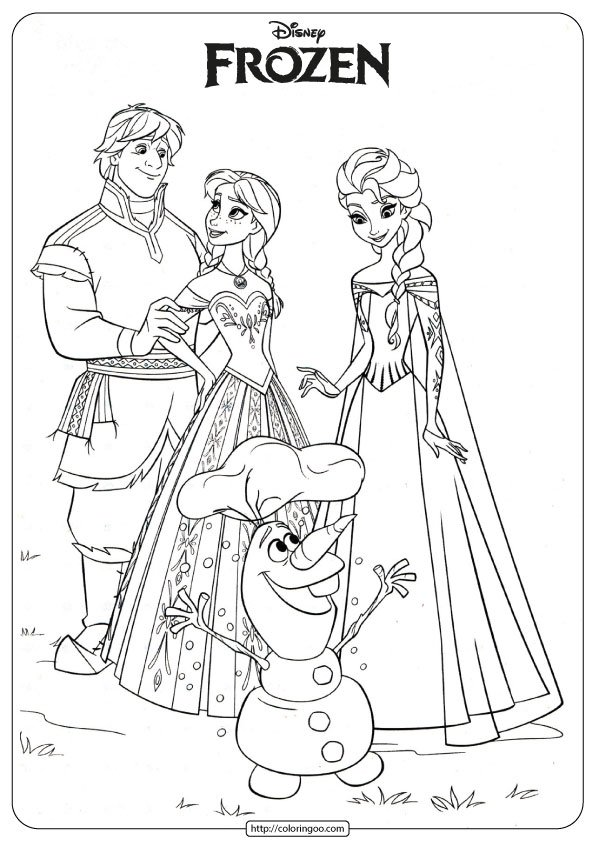 Frozen Anna, Elsa, Kristoff and Olaf Coloring Page