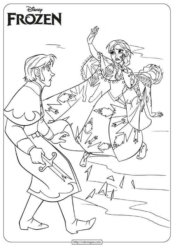 Printable Frozen Anna - Hans Coloring Pages