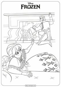 Printable Frozen Anna&Hans Coloring Page