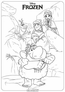 Disney Kristoff, Anna and Trolls Coloring Pages