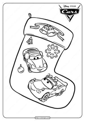 Disney Cars Christmas Stocking Coloring Pages