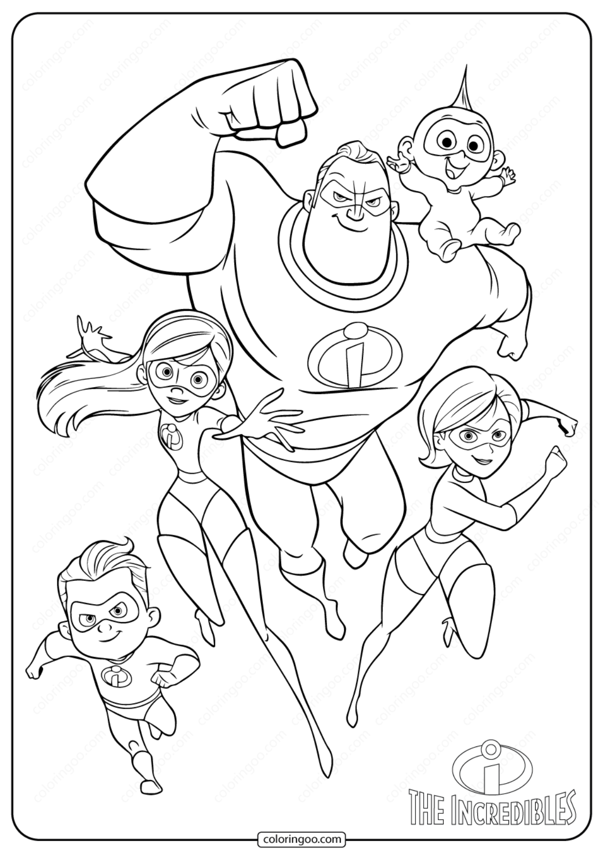 The Incredibles Coloring Pages | Disneyclips.com | 1697x1200