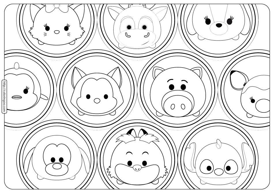 Disney Tsum Tsum Bubbles Coloring Pages
