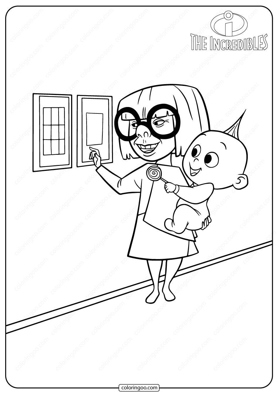 The Incredibles Edna Mode & Jack Jack Coloring Pages