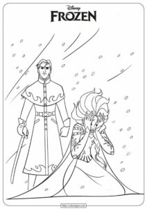 Disney Frozen Elsa & Hans Coloring Pages